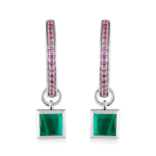 Ornate Malachite Charm Garnet Hoop Earrings