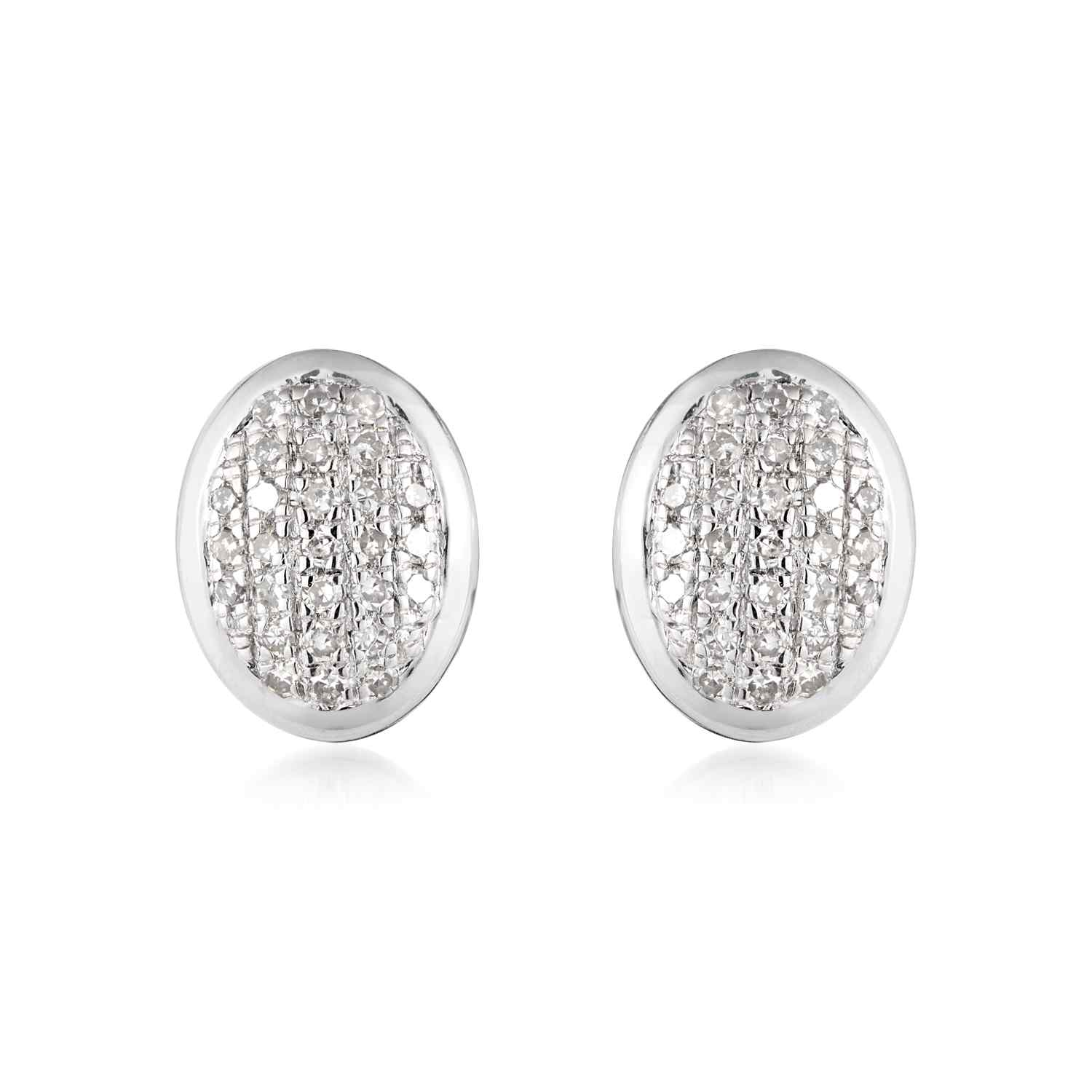 Classic Pave Diamond Oval Earrings
