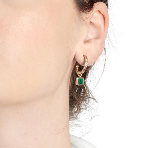 Ornate Malachite Charm Garnet Hoop Earrings