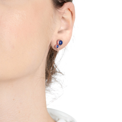 Orbis Lapis Cluster Stud Earrings