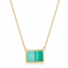 Ornate Rectangular Malachite Necklace