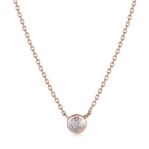 Classic Pave Diamond Round Necklace