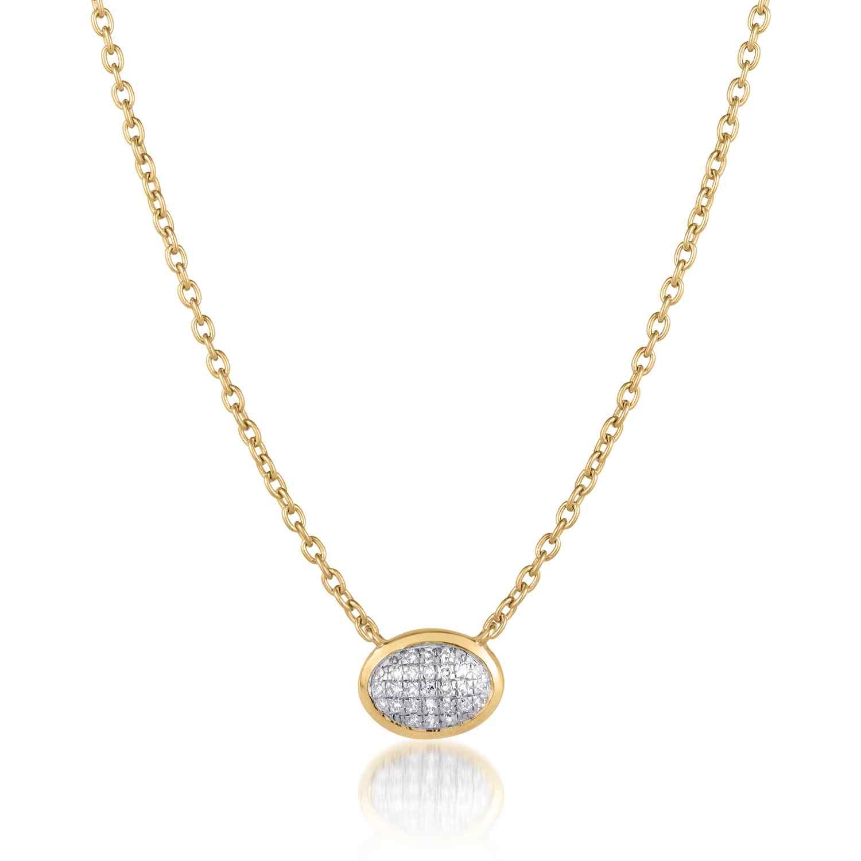 Classic Pave Diamond Oval Necklace