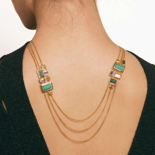 Ornate Geometric Jewel Necklace