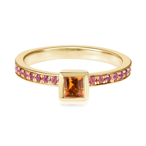 Ornate Square Citrine Ring