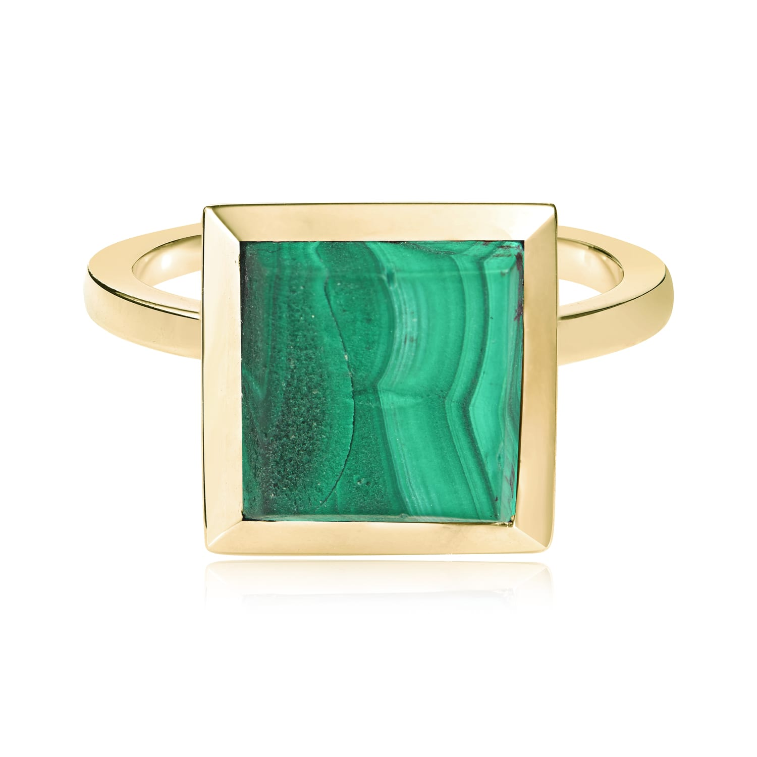 Ornate Square Malachite Ring