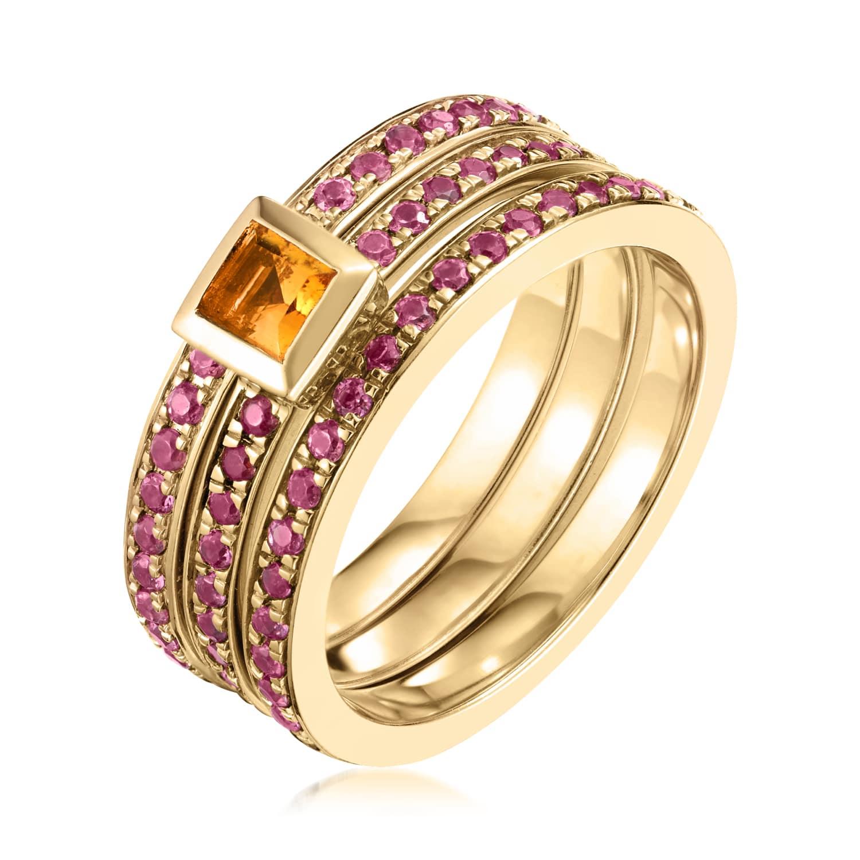 Ornate Square Citrine Eternity Ring