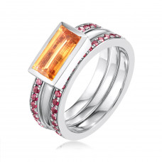Ornate Citrine Eternity Ring