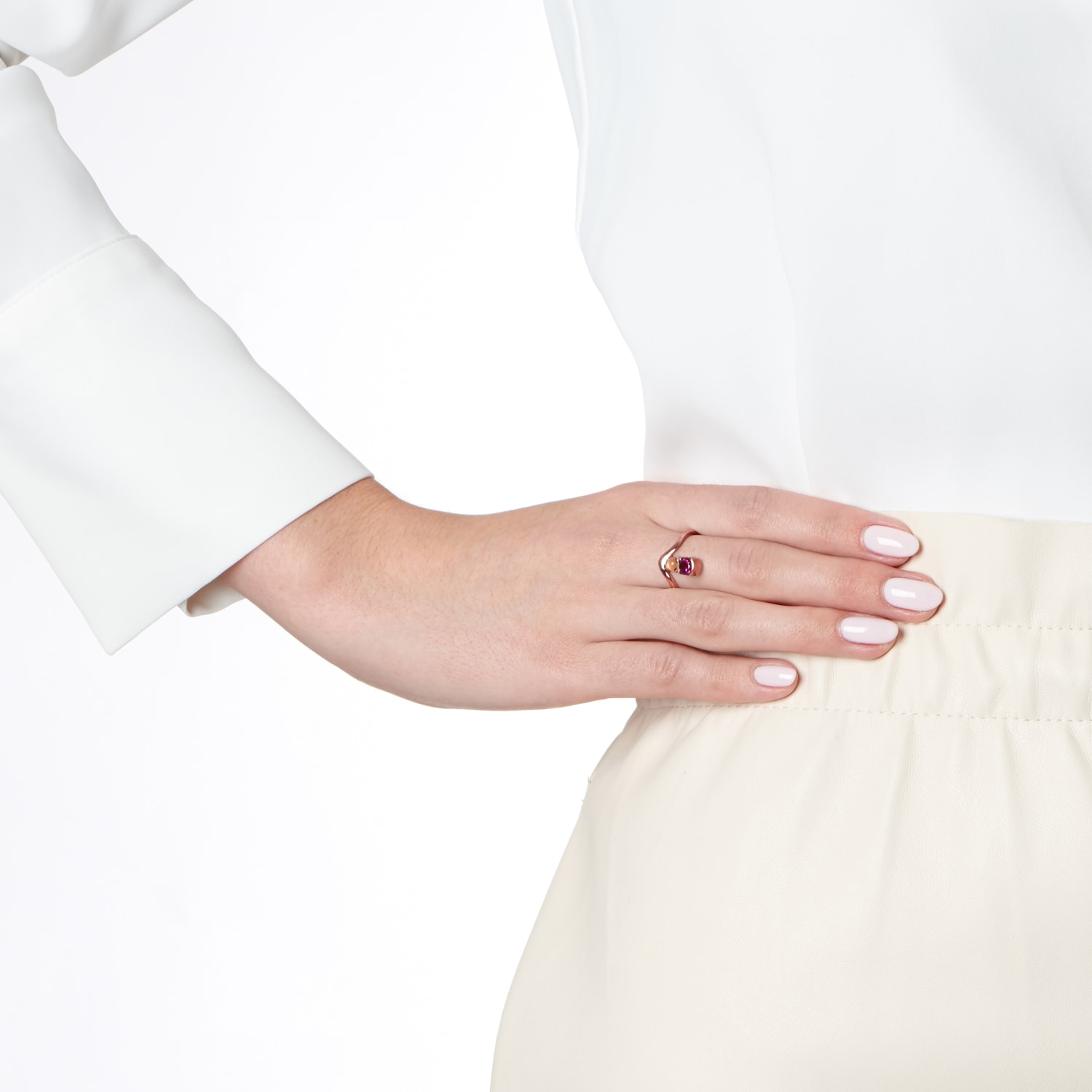 Belle Stacked Garnet And Moonstone Ring