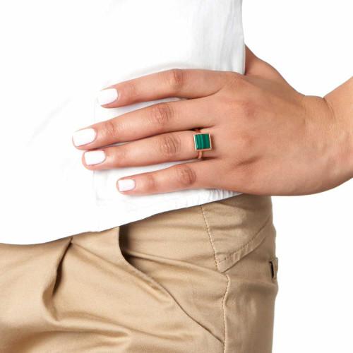 Ornate Square Malachite Ring