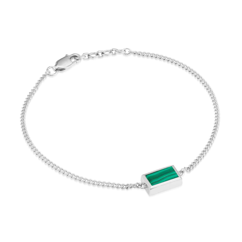 Ornate Rectangular Malachite Bracelet