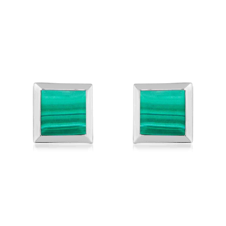 Ornate Square Malachite Earrings