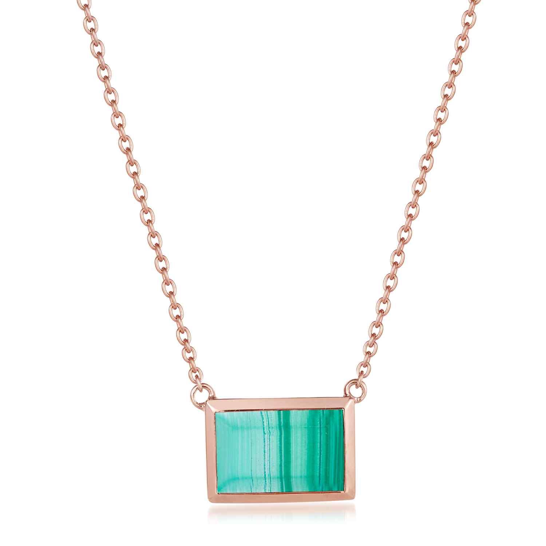 Ornate Rectangular Malachite Necklace