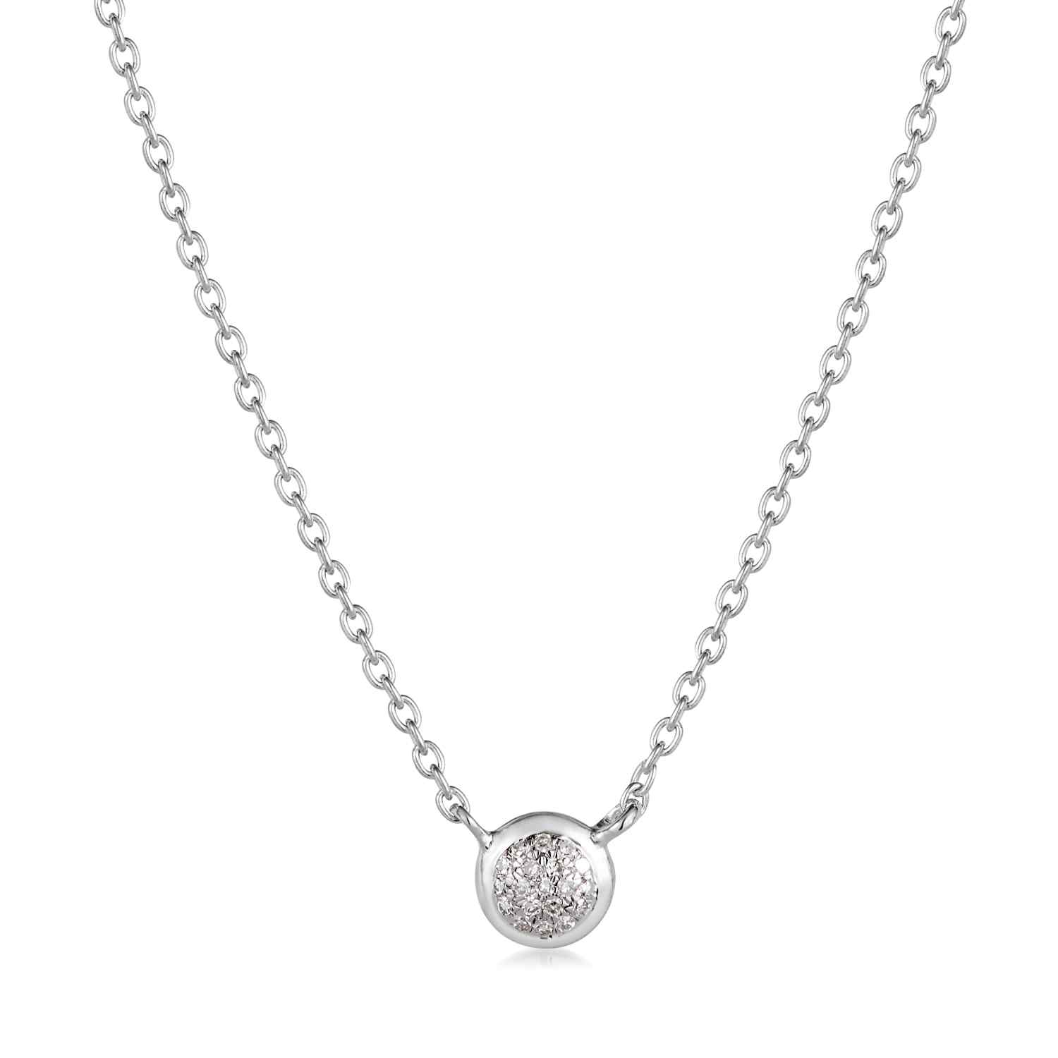 Classic Pave Diamond Round Necklace