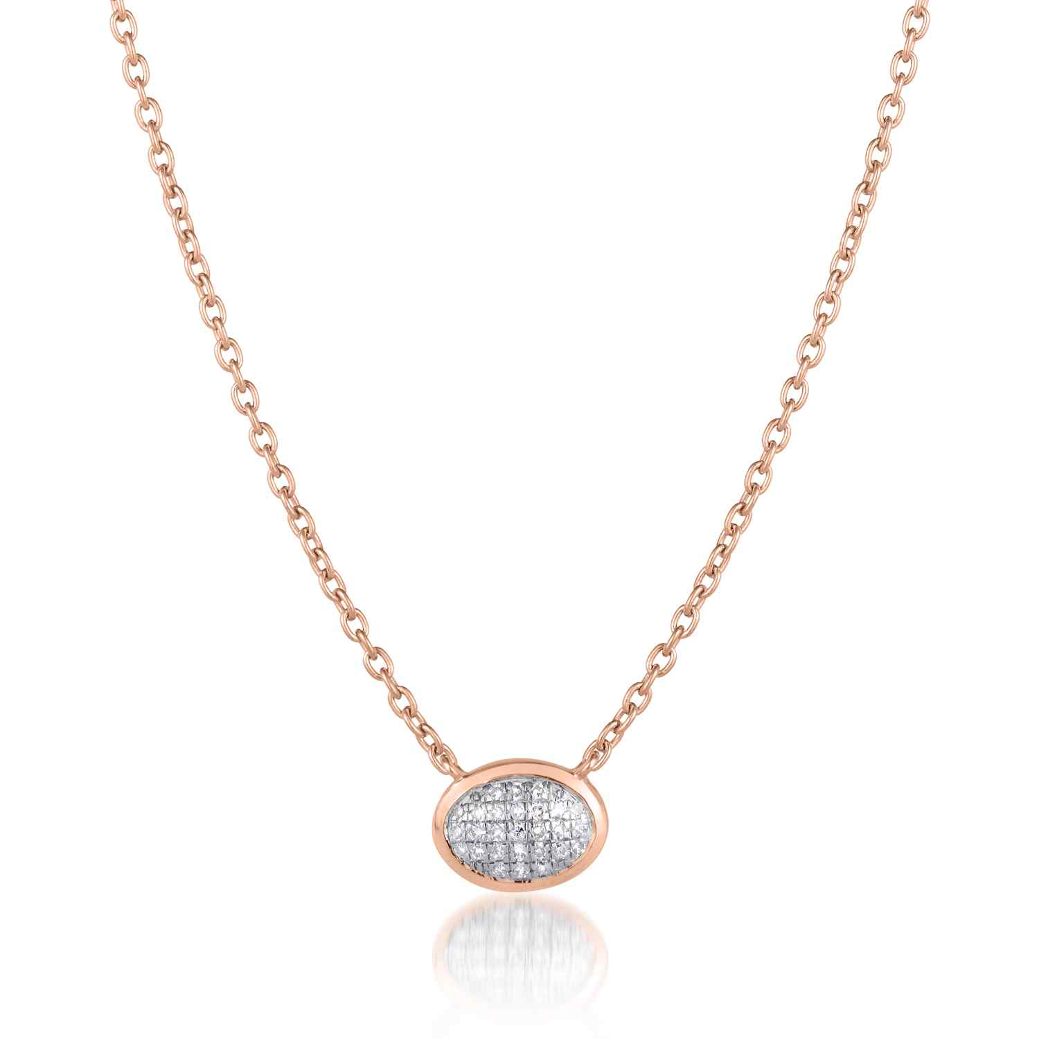 Classic Pave Diamond Oval Necklace