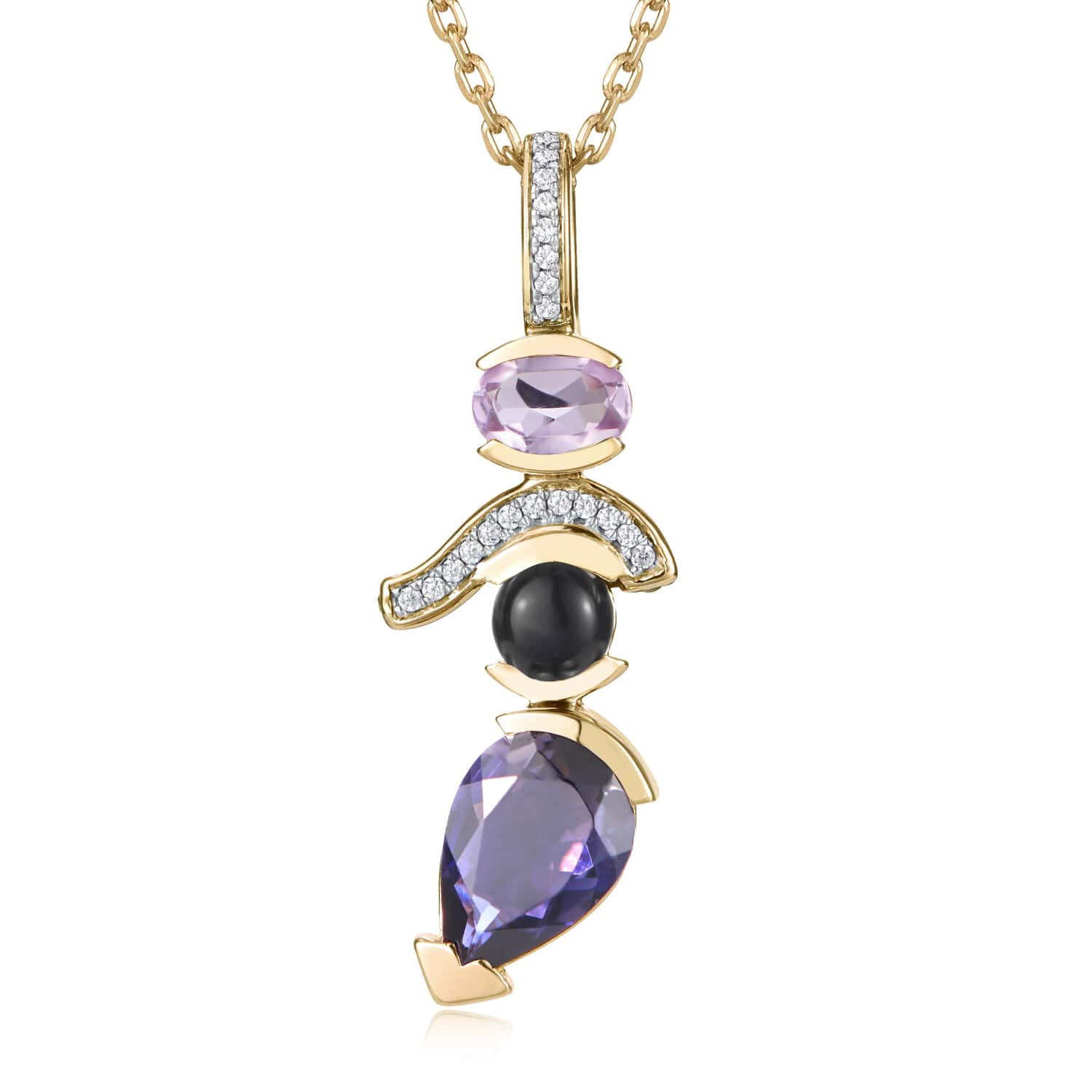 Belle Stacked Stone Pendant