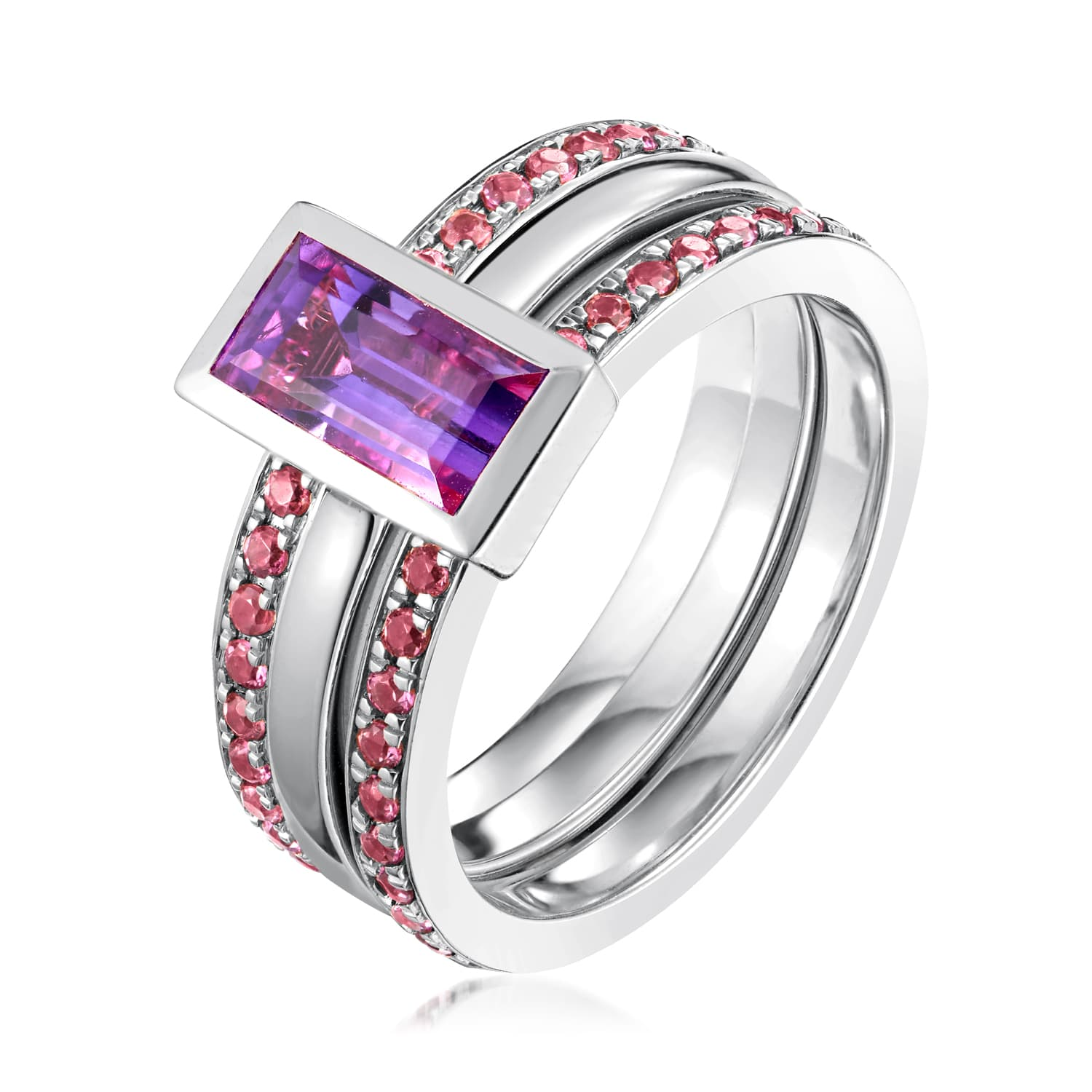 Ornate Amethyst Eternity Ring