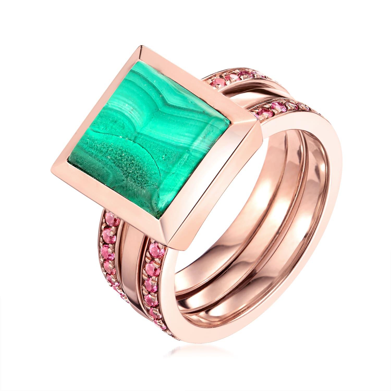 Ornate Malachite Eternity Ring